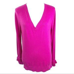 Banana Republic Pink V-Neck Ruffle Sleeve Sweater